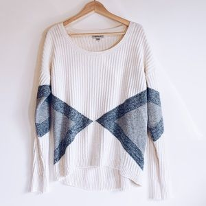 Calvin Klein White & Grey Ribbed Sweater